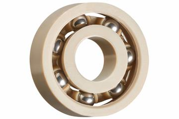 xiros® radial deep groove ball bearing, xirodur A500, stainless steel balls, cage made of PEEK, mm