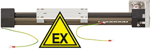 Toothed belt axis in the installation size 1040-EX with EX-protection